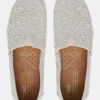 TOMS Silver Crochet Slip On Flat Shoes