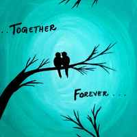 Together Forever Acrylic painting canvas art Love birds wall decor wall art Birds Tree silhouette Christmas decor Turquoise Teal artwork