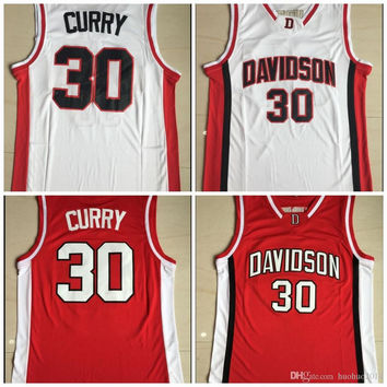 #30 Stephen Curry Jersey Davidson Wildcats College Basketball Jersey University Shirt All Stich Freeshipping Red White