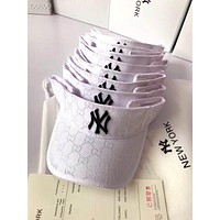 NY x GUCCI joint embroidery letter outdoor sports sun hat empty top hat white
