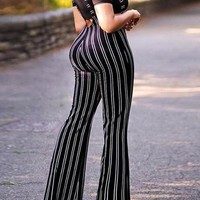New Black Striped Zipper High Waisted Casual Bell Bottomed Flares Long Overall Pants