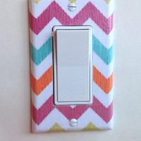 Summer Chevron Single Rocker GFI Switchplate, switch plate