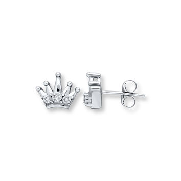 Young Teen Crown Earrings Diamond Accents Sterling Silver