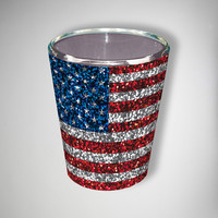 Glitter American Flag Shot Glass