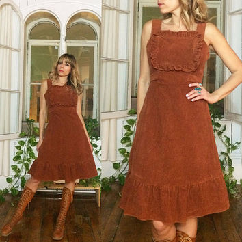 Vntage 1970's Amber CORDUROY OOAK Ruffled Bib Sun Dress With Sash || Size XS to S || Size 2 to 4