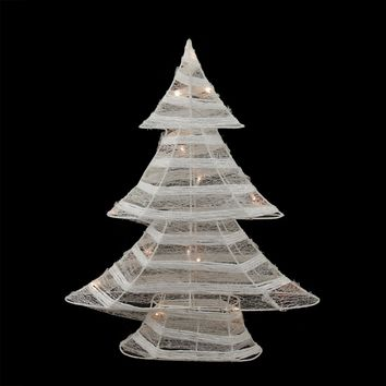 "24.5"" Battery Operated White and Silver Glittered LED Lighted Christmas Tree Table Top Decoration"