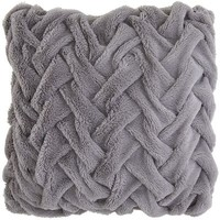Pintuck Faux Fur Pillow - Platinum