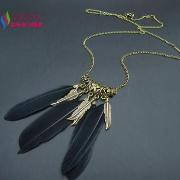 COOL fashion vintage bronze black feather long sweater chain collar necklace pendant