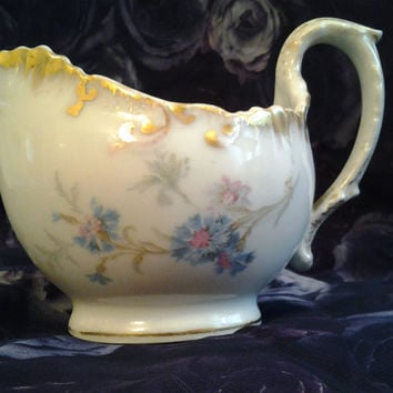 Antique Limoges Vintage Creamer Blue Cornflowers Gold Trim Pitcher Cottage Style Shabby Chic Limoges France 1896-1905