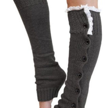 Light Grey Button Leg Warmers