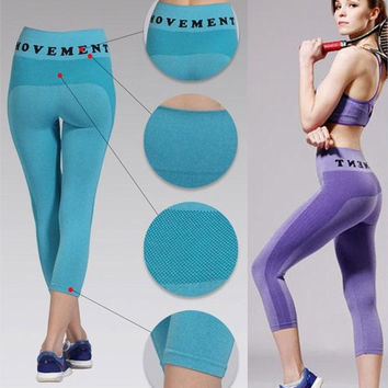 2015 Fashion Summer Women's Sports Leggings High Waist Elastic Fashion Fitness Workout Yoga Gym Running Pants = 1714517764