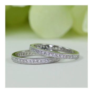Micropavé Vintage Style Double Row Cubic Zirconia Eternity Wedding Band Set In Sterling Silver