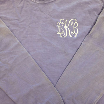 Long Sleeve Comfort Color Monogrammed T-Shirts-  Great for Bridesmaids, Teens, Graduation, Best Friends, Greek, and Birthday Gifts