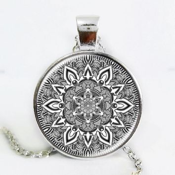 Namel mandala flower necklaces charm henna yoga pendant handmade necklace India style jewelry om symbol buddhism zen hot 2016 Silver Plated
