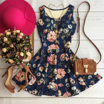 Round neck sleeveless print dress