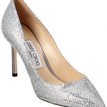 Jimmy Choo Romy 85 Glitter Fabric Pointy-Toe Pump, 37