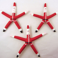 Starfish Christmas Ornaments  Set of 3 Santa by CereusArt on Etsy