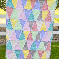 Rag Quilt, Triangles, Muted Pastel Baby Blanket, Crib Size Quilt Made to Order
