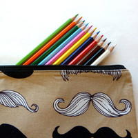 Mustache Travel Zippy Pencil Case with Zipper / Make Up Bag / Birthday Party Favor / Money Clutch / Wheres My Stache Fabric