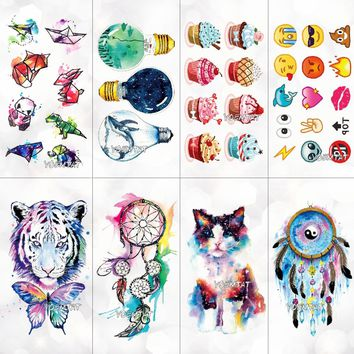 Cute Watercolor Cartoon Design Temporary Tattoo For Kids Children Lamp Water Trasnfer Tattoo Stickers Ocean Women Girl Tatoos