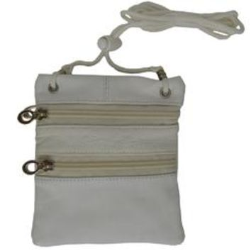 Small Soft Leather Cross Body Purse-White Color