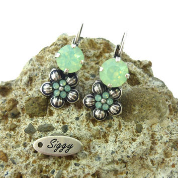 Swarovski crystal and daisy drop earrings-  mint opal, GREAT PRICE,  gift idea, Siggy bling