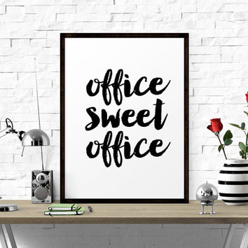 Typography Poster, Office Sweet Office, Printable Art, Black and White, Office Decor, Inspirational Quote, Modern Decor, Scandinavian Print