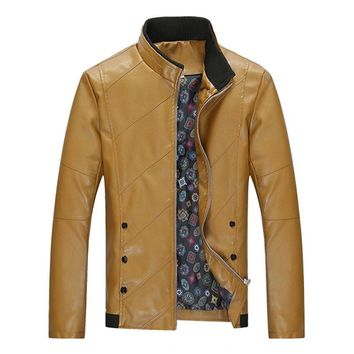 New  Men's Casual Leather Jackets Men Fashion Slim Fit PU Leather Outerwear Coats Male Plus Size 4XL Brand Clothing