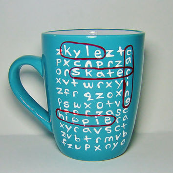 Personalized Word Search Puzzle Ceramic Mug MMMug Blue, White & Red / Long Distance