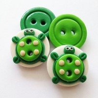Cute Turtle - Set Of 4 Polymer Hand.. on Luulla