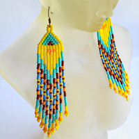 Ethnic Beaded Earrings-Yellow,Turquoise Seed Bead Earrings-Dangle Long Earrings-Tribal Fringe Earrings-Folk Traditional Beadwork Jewelry
