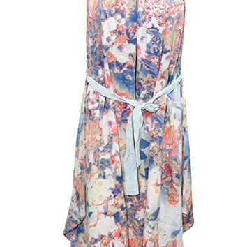 Mogul Interior Emelda Womens Beach Dress Floral Print Ribbon at Waist Boho Hippie Sexy Sundress
