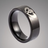 Black Tungsten Carbide Promise Ring with Engraved Couple Hearts