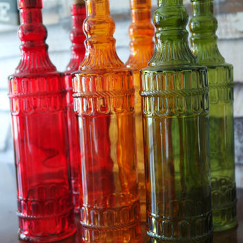 Colored Glass Apothecary Bottles, Tall Cork Vases, Red Green Orange Carnival Glass FREE US Shipping