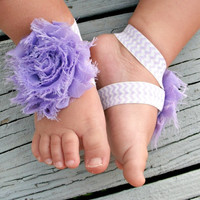 Baby Barefoot Sandals .. Lavender Flower on Chevron Elastic .. Toddler Sandals .. Newborn Sandals