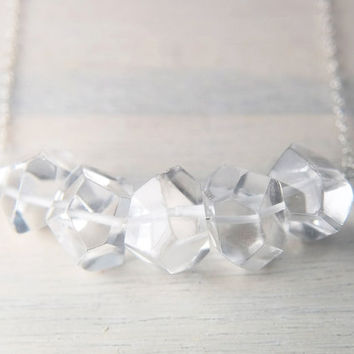 Chunky Crystal Necklace, Big Crystal Necklace, Rock Crystal Necklace, Rock Crystal Pendant Necklace