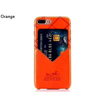 Hermes Tide brand personality card iPhone7 mobile phone case cover orange