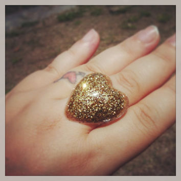 "Handmade ""PrismGem""  Bold Gold Glitter Loaded Large Resin Dome Bubble Adjustable Ring Made to Order"