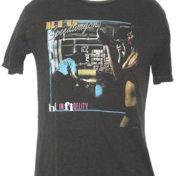 REO Speedwagon T-shirt - Hi Infidelity Album Cover Artwork  Men's Black  Vintage Shirt