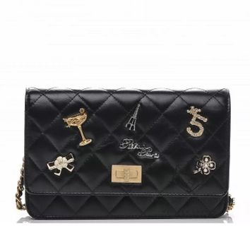 CHANEL BLACK BAG WOC LUCKY CHARMS QUILTED WALLET ON CHAIN MINI 2017 GHW HARRODS