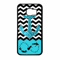 Peter Pan Mint Glitter Anchor Black Chevron Samsung Galaxy S6 Case