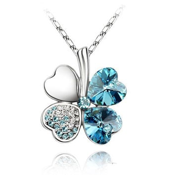 free shipping charm women accessories 18KGP Austrian Crystal lover 4 four Leaf Leaves Clover necklace pendant fashion jewelry