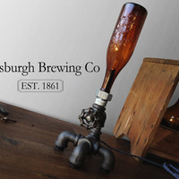 Industrial Brewery Lamp - Bottle Lighting - Man Cave - Dorm Room Decor - Faucet Fixture - Table Lamp Furniture
