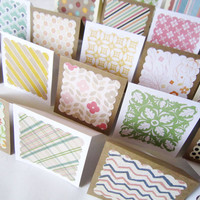 "3"" x 3"" Mini Note Cards with Envelope / Blank Note Cards / Thank you cards / Mini Thank You Enclosures / Assorted Patterns  / Set of 20"