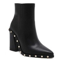 Chunky Heel Pointed Toe Rivet Ankle Boots