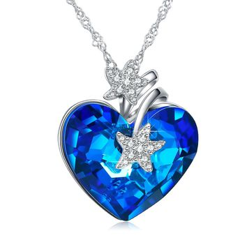 Heart Ocean Necklace Love Heart Pendant Necklaces for Women Made with Swarovski Crystals