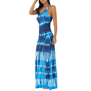 Bohemian Tie-dye Illusion Print Racerback Maxi Dress