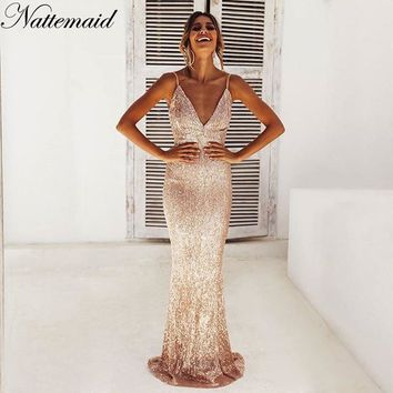 Merry Christmas Party Shining Sequin Long Dress Backless