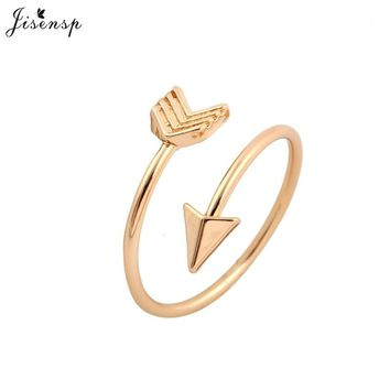Jisensp Fashion Rings Brass Small Silver Arrow Ring Cute Wedding Jewelry Rings for Women New Year Gift Adjustable Finger Ring