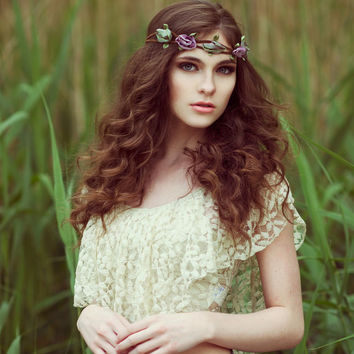 Bohemian Flower Crown    leather and vintage satin flower boho,indie Headband hair band